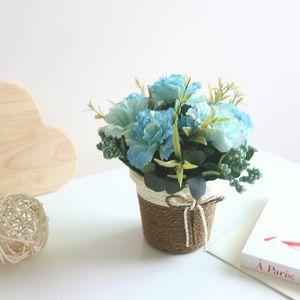 Mother's Day Vintage Carnation Rattan Basket Artificial Flower Bonsai Set Lilac Ornaments Artificial Greenery