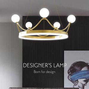 Simple living room LED chandelier bedroom creative personality crown chandelier ring  lamps edroom Kids Lamp 220V  110V