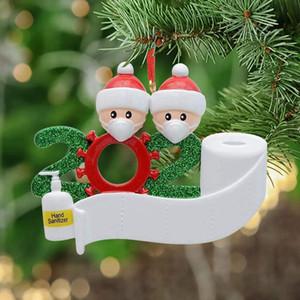 2020 شجرة عيد الميلاد زخرفة DIY عائلة 2 3 4 5 6 7 أبيض أسمر حزب Distancin سانتا قلادة حلية الاجتماعية الديكور LJJP502-2