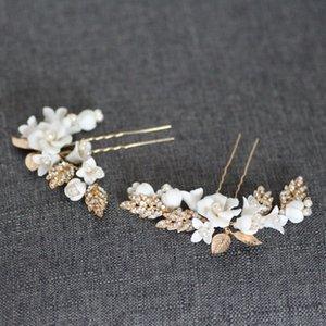 Hoja de oro Jonnafe Porcelana Flor nupcial pernos de pelo de boda Celada pieza hecha a mano de las mujeres Prom Accesorios para el cabello