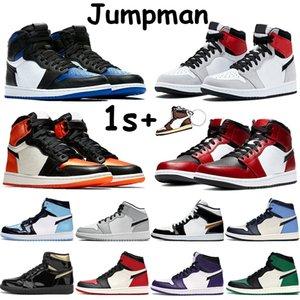 1 1s jumpman sapatas de basquetebol meados chicago preto produzido dedo do pé real luz fumaça cinza acetinado cobra despedaçado encosto UNC homens altas patentes sneakers