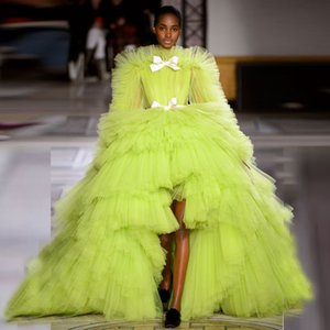 Green Apple Tulle Dress Evening Gown Ruffles Tiered Ball Gown Prom Dresses Bow Hi-Lo robe de soiree2020 Party Gown Formal Dress
