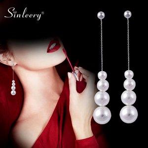 SINLEERY elegante tamanho diferente Bola White Pearl Brincos cor prata Brincos de casamento de cadeia para mulheres Jóia ES618 SSH