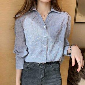 Shintimes chemisier Femme Çizgili Kadın Gömlek Tops Womens Uzun Kollu Bluz Bayanlar Pamuk Gömlek Kadın Giyim Düğmesi Cepler