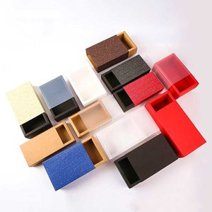 10pcs Kraft Paper Box With Frosted transparent cover Drawer Style Cardboard Box For Doll Packaging Jewelry Gift