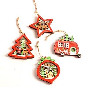 NEW Luminous деревянная Рождественская елка Подвеска Новогоднее украшение дерево интерьер светящийся кулон T500190 Новогоднее украшение