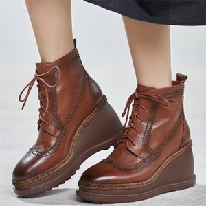 High Top Platform Oxfords Shoes Women Lace Up Cow Leather Wedges High Heel Ankle Boots Female Round Toe Pumps Shoes Casual