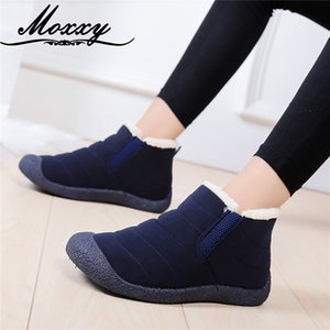 Moxxy 2020 New Women Ankle Boots Winter Plush Warm Fur Snow Boots Slip On Waterproof Flat Casual Shoes Woman Plus Size 36-46