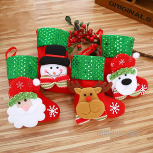 Christmas Mini Stockings 3D Sequin Gift Card Bags, Bulk Treats for Neighbors Coworkers Kids Cats Dogs, Xmas Tree Decorations MY-inf0394