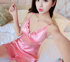 Wholesale- 2017 New Quality Sexy Lingerie Girl Summer Ice Silk Pajamas Set Sling Temptation Nighty & Shorts Set Embroidery Satin66