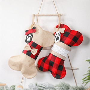 Bone Shaped Christmas Stocking Lattice Bone Shape Xmas Tree Hanging Socks Candy Gift Bag Xmas Socks Gift Holder OWF267