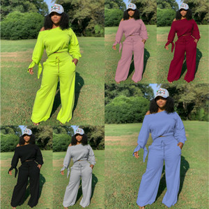 Women Tracksuit Two Pieces Set Solid Colour Sexy One Word Collar Bat Sleeve Ladies New Casual Loose Sportwear Outfits Large Size 2020