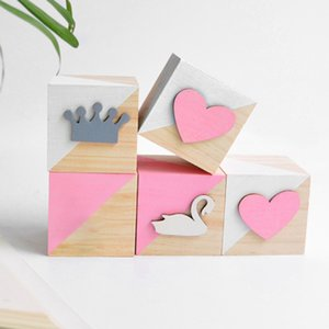 Pine Wooden Blocks Toys Swan Crown Heart Wood Articles Baby Kids Toys Girl Photography Props JPDZS1160