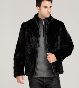Men Faux Fur Coats Black Full Sleeve Stand Collar Zipper Slim Fashion Winter Clothing Warm Jackets