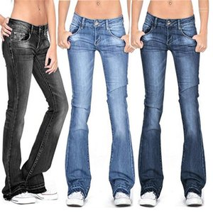 Solid Color Jeans Casual Womens Designer Jeans Bleached Flare Long Pants Womens Fashion Plus Size