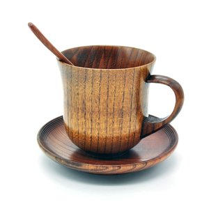 3Pcs Set Wooden Cup Saucer Spoon Set Coffee Tools Accessories
