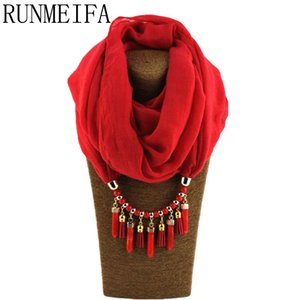 [RUNMEIFA] Charms Shawl Pendant Necklace Scarves Jewelry Family Style All Match Keep Warm Tourism Wear Beads Water Drop Jewelry