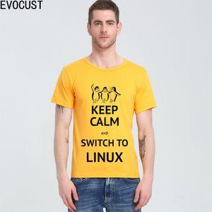 진정 유지하고 리눅스를 사용하여 오픈 소스 T 셔츠 최고 라이크라 코튼 남성 T 셔츠 스위치