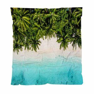 Tropical Warm Flannel Fleece Towel Blankets,Tropical Beach In The Ocean Maldives,Soft Comfortable Multifunctional Blanket