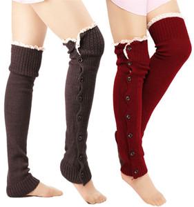 Frauen-Mädchen-Buttons unten Fastening warm halten gestrickte Gamaschen lose Wolle Beinschutz Stiefel Booties Stulpen Socken Weihnachten Knit-Bein-Wärmer E9102