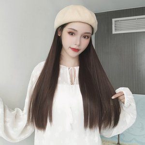 YYOUFU Baseball Cap With Hair Long Wavy Fake Hair Hat Wig Synthetic Extensions Hat With Natural Hairpiece For Women