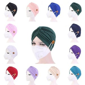 Women Turban Hats Mask Headband with Button Indian Caps Stopper Pure Hat Turbante Headwear Adult Bandana Hijab Towel Hair Accessories YL42