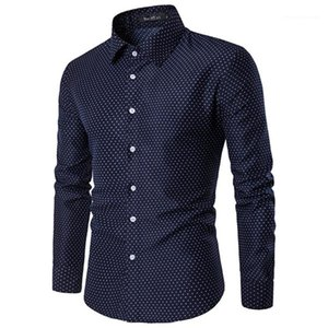 Slim Turn-down Collar Shirts Mens Fashion Shirts Mens Designer Long Sleeve Shirts Dot Printed Autumn Casual