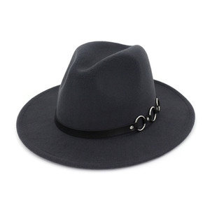 Mode féminine de style européen Hommes Jazz Fedora Chapeaux en feutre de laine Chapeau large Brim Panama Fedoras Trilby noir pour unisexe