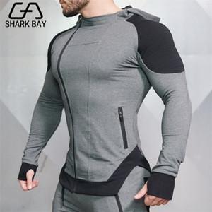 상어 베이 체육관 새로운 브랜드 스웨터 남성 후드 겨울 솔리드 까마귀 망 힙합 코트 풀오버 캐주얼 트랙스