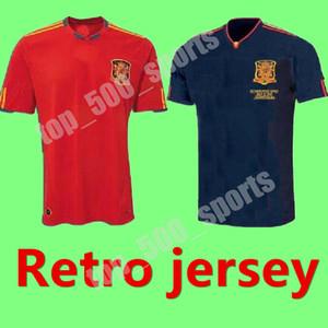 2010 Retro Edition Spanien Home Fussball Jersey 2010 Weltmeisterschaft Pique 6 a.inesta David Villa Fabregas Soccer Hemd Ramos Silva Football Uniform