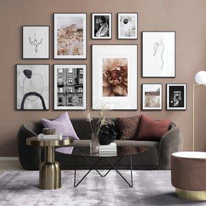 Vintage Blanco Negro Flor Poster Línea abstracta imprime la pared del arte de la lona Pintura Decoración cuadros para la decoración de la sala de estar