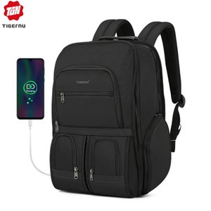 Tigernu 2020 New RFID Upgraded Anti theft Zippers Waterproof Laptop Men Backpack With USB Large Capacity Travel Bags Male Female