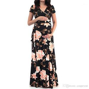 V cou à manches courtes Robes Avslappnad Vacances Vêtements d'été enceinte robe de maternité maman femmes