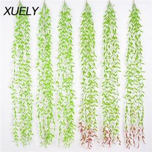 10 Plantas PCS Verde Rattan Willow folha artificial Fotografia de fundo de parede Weeping Willow Início casamento Detalhes no Atacado