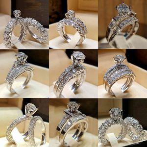 다이아몬드 Crytal 반지 큐빅 지르코니아 링 크라운 결혼 반지는 여성의 의지와 모래를위한 새로운 패션 화이트 골드 색상 투명 지르콘 반지를 설정합니다