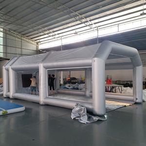 نافذة للنقل وستارة هوائية 8x4x3m المرآب خيمة نفخ رذاذ كشك السيارات خيمة اللوحة العمل بالون محطة المحمولة في الهواء الطلق