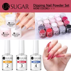 UR SUGAR 30ml Dipping Nail Powder Set Glitter Nail Art Brush Tools Tols Soak Off Base Top Coat Needed Activator Brush Saver Kit