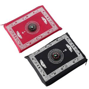 Islamische Gebetsdecke Tragbare Geflochtene Matte Tragbare Reißverschluss Kompass Decken Taschenppiche Muslimische Gebet Teppiche Muslimische Anbetung Decke AHB3146