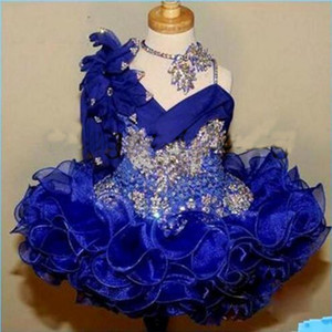 Cute Girl's Glitz Pageant Dresses Royal Blue Lace Beads Crystal Pageant Party Gowns Girl Tiers Toddler