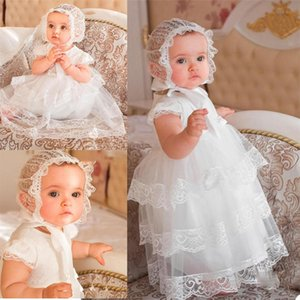 Cap Sleeve Lace Christening Dresses with Hood Handmade Toddler Baptism Gowns Tiered Skirts Kids First Communication Dress