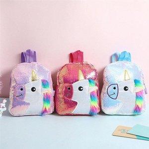 Color de rosa brillante con lentejuelas morral de la felpa del unicornio Diseño taleguilla Bookbag adorable linda de la manera niños del viaje del bolso de escuela para el estudiante LkA0 Niño #