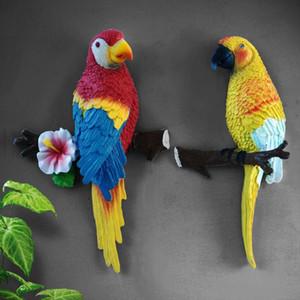 Estátuas Resina Art Sculptures Garden Blackground quarto Início Parrot estatueta Tv Pássaro Crafts Forma Mural Decoração Habitar RNkHk mj_bag