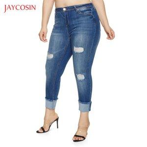 Jaycosin Seksi Bahar Kadınlar Jeans Orta Bel Jeans Moda Yüksek Elastik Kadınlar Delik Eski Skinny Kalem Pantolon Artı Boyutu Yıkanmış