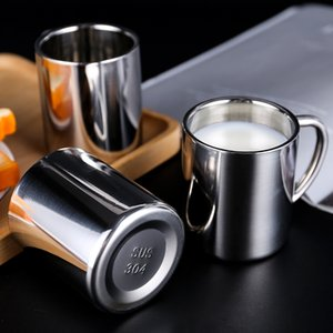 Double insulation thickened 304 stainless steel mouth cup with handle tea water milk coffee fruit juice drink cup