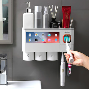 Magnetic Adsorption Inverted Toothbrush Holder Automatic Toothpaste Squeezer Dispenser Storage Rack Bathroom Accessories