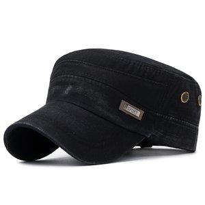 Erkekler Düz Ayarlanabilir Alan Retro Cap Ordu kepi Postacı örgü Slub doku Kavisli siperliği Rozet nefes ile Şapka Yıkanmış