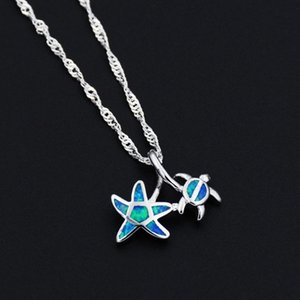 Ocean Blue Opal Beach Starfish and sea turtle Pendant Necklace for Gift