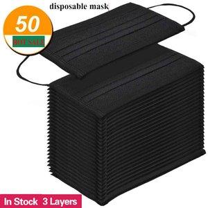 Kostenloser Versand schwarz Einweg-Gesichtsmasken 3-Schicht-Schutz-Maske mit Earloop Mund Gesicht Sanitary Außen Masken