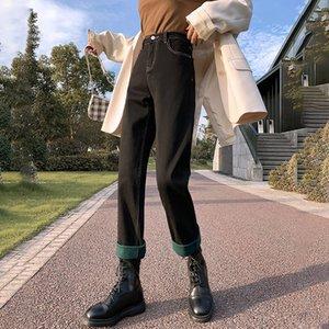 ZHISILAO зимы теплые прямые джинсы Женщины высокой талией мама Джинсовые брюки 2020 Vintage черный синий Fur Boyfriend Jeans Street Wear