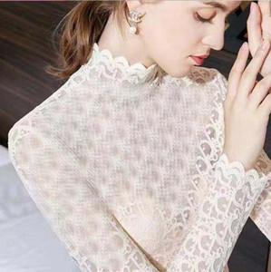 전체 문자 레이스 여성 INS 패션 자수 숙녀 긴 소매 티셔츠 실내, 실외 우아한 여성 셔츠 탑